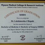 Dr.Lakshmisha J Hegade MBBBS Degree Certificate